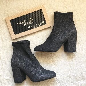 Express Stretch Fabric Glitter Heeled Ankle Boots